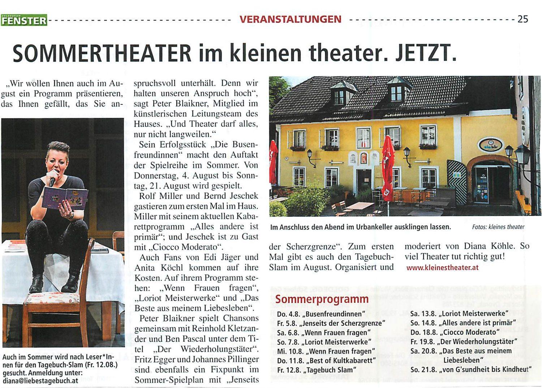 20160701 BER Kulturfenster Sommertheater - Sommertheater im kleinen theater. Jetzt. – Kulturfenster vom 01.07.2016