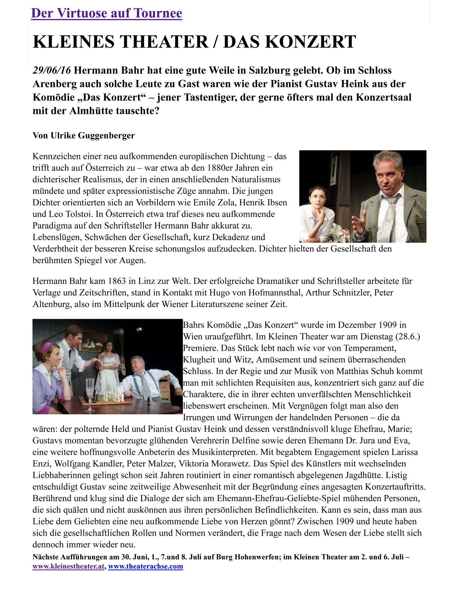 20160704 KRI Drehpunktkultur Das Konzert - Der Virtuose auf Tournee – Drehpunktkultur vom 04.07.2016