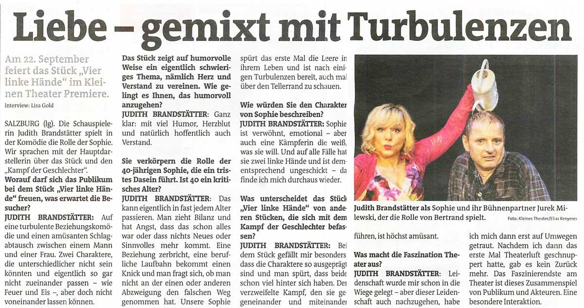 20160921 INT VierlinkeHaende Stadtblatt 1 - Liebe - gemixt mit Turbulenzen - Stadtblatt vom 21.09.2016