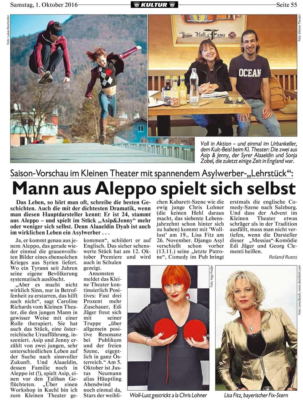 20161001 BER Krone Pressekonferenz AsipundJenny - Mann aus Aleppo spielt sich selbst - Kronen Zeitung vom 01.10.2016