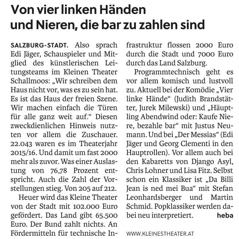 20161001 BER SN Pressekonferenz - Von vier linkenHänden undNieren,diebar zu zahlen sind - SN vom 01.10.2016
