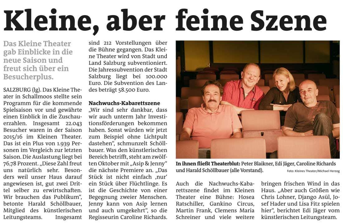 20161005 BER PK StadtblattSalzburg - Kleine, aber feine Szene - Stadtblatt Salzburg vom 05.10.2016