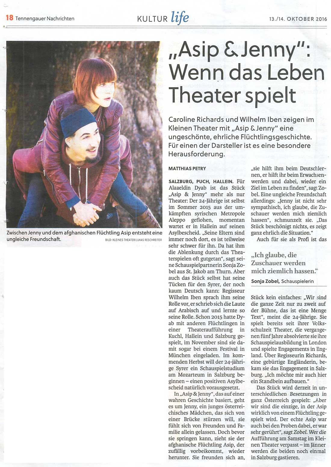 """20161013 KRI Tennengauer Nachrichten Asip und Jenny 1 - """"Asip & Jenny"""": Wenn das Leben Theater spielt - Tennengauer Nachrichten vom 13.10.2016"""