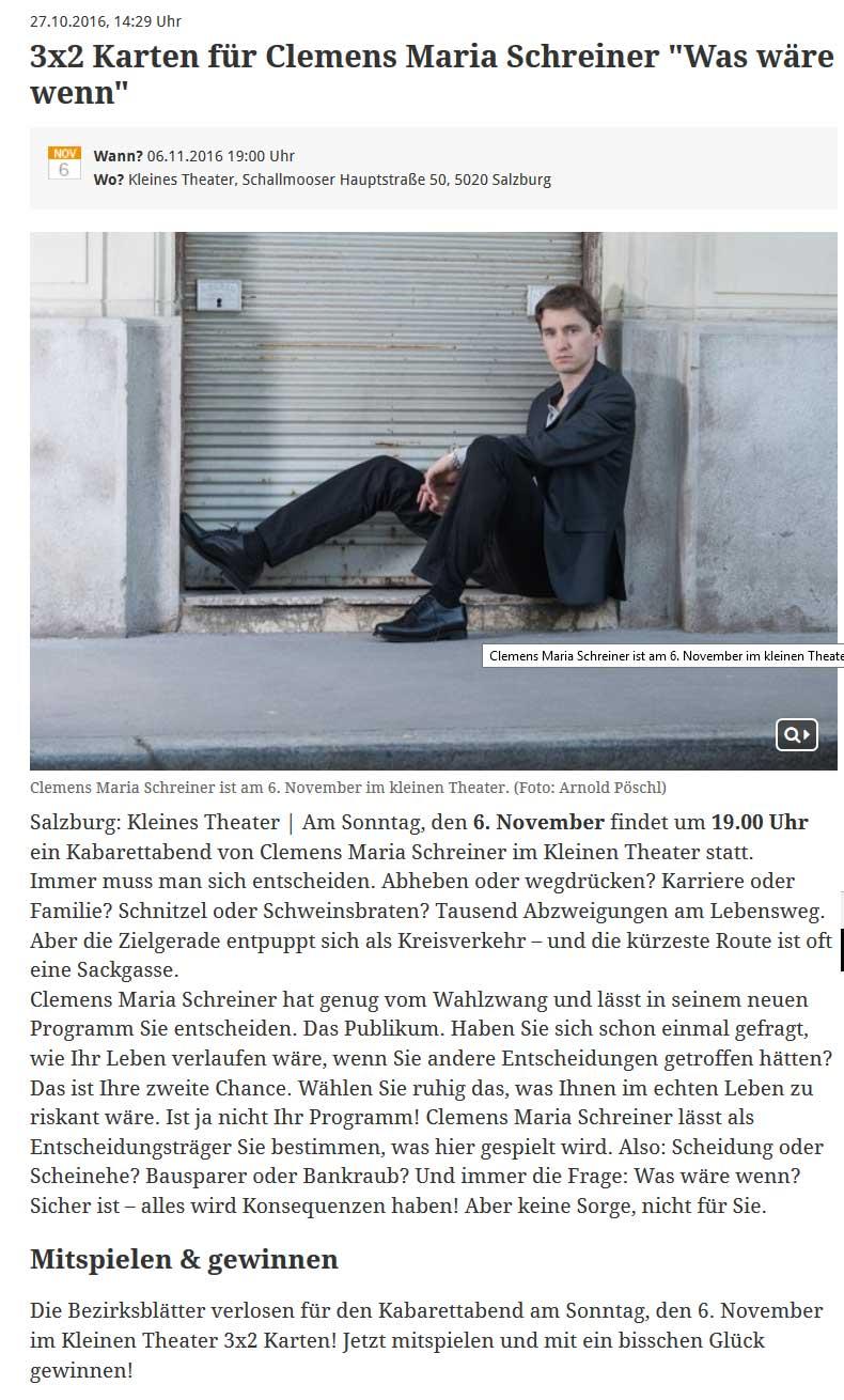 20161027 meinbezirk - 3x2 Karten für Clemens Maria Schreiner - meinbezirk.at vom 27.10.2016