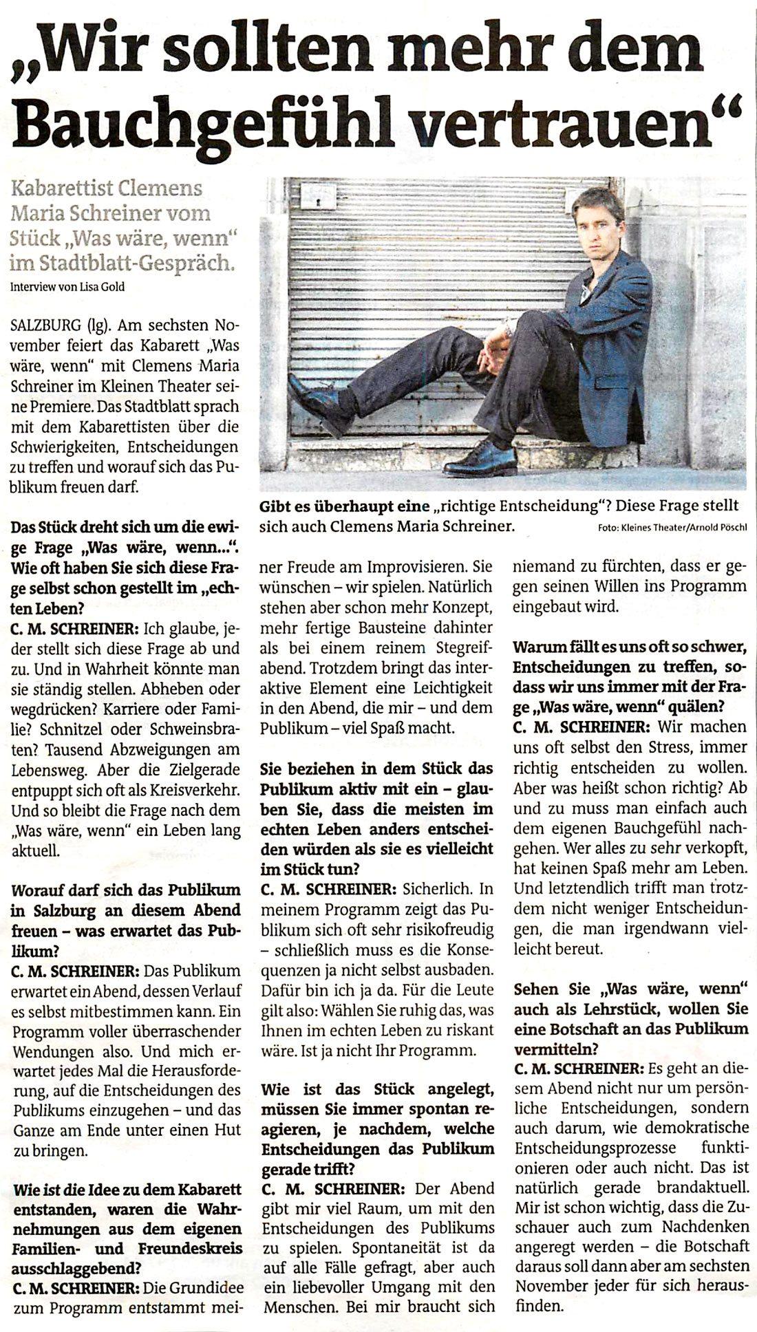 20161103 INT ClemensMariaSchreiner Stadtblatt 1 - Wir sollten mehr dem Bauchgefühl vertrauen - Stadtblatt vom 03.11.2016