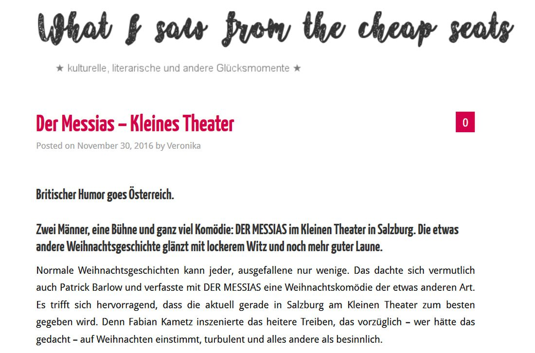 20131130 cheapseats 01 - Der Messias -what i saw from the cheap seats vom 30.11.2016