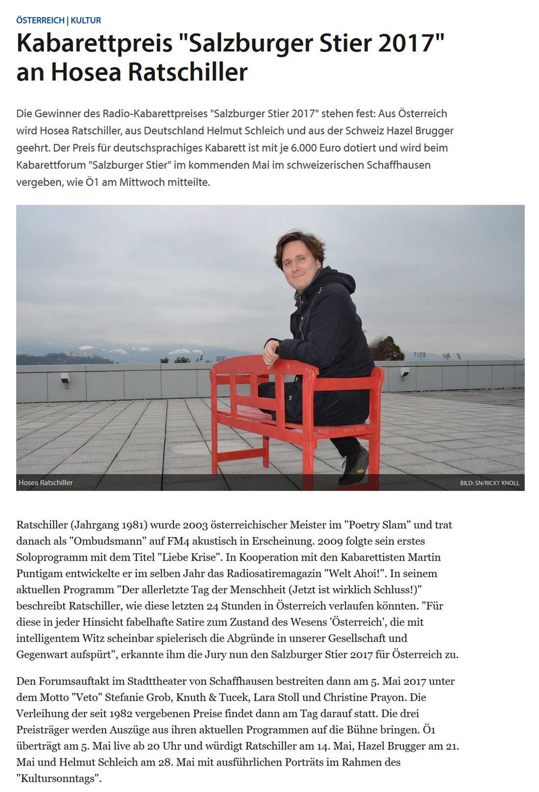 """20161201 Ratschilller - Kabarettpreis """"Salzburger Stier 2017"""" an Hosea Ratschiller - SN vom 01.12.2016"""