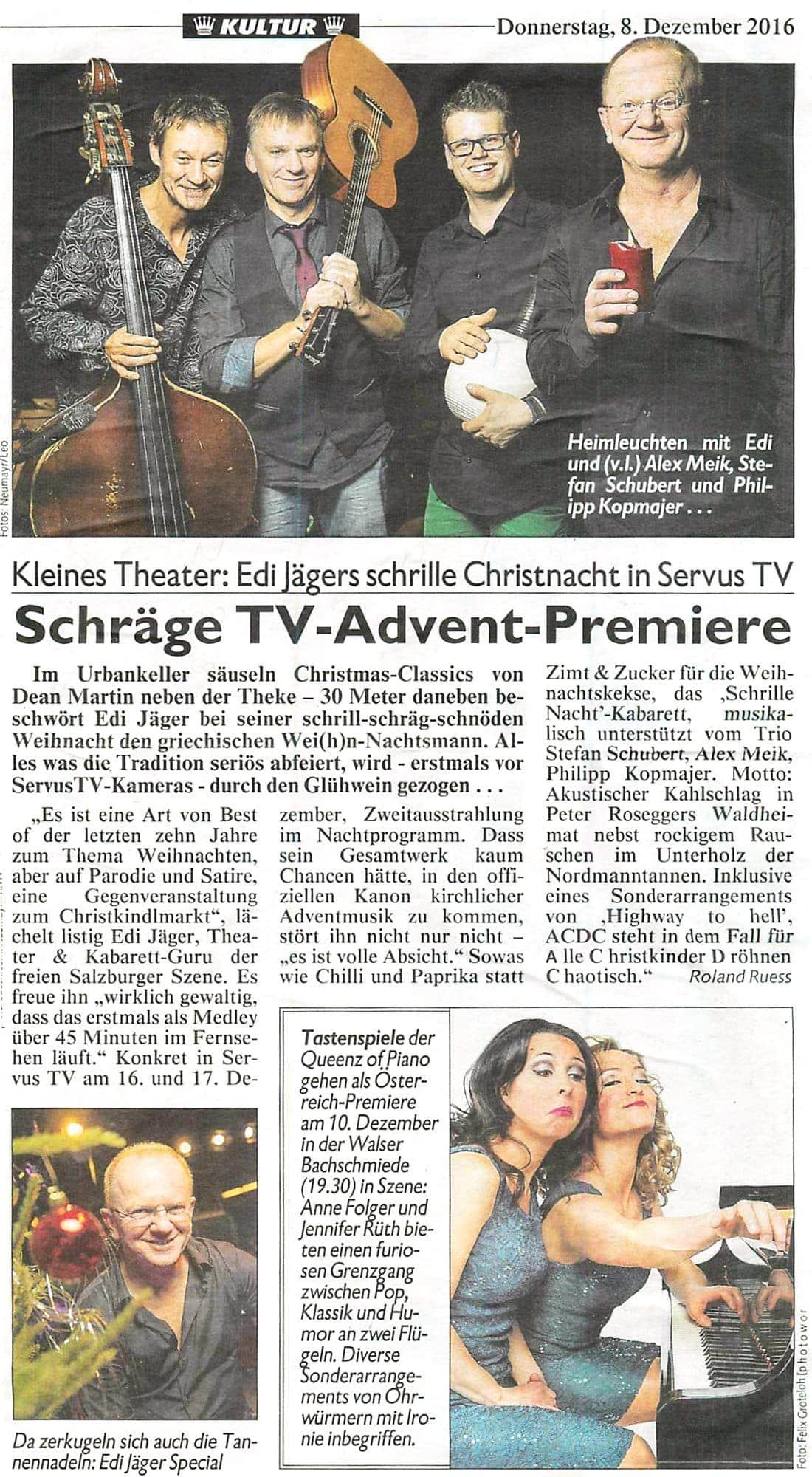 20161208 BER SchnoedeBescherung EdiJaeger Krone - Schräge TV-Advent-Premiere - Kronenzeitung vom 08.12.2016