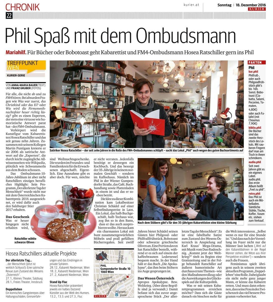 20161219 BER Kurier HoseaRatschillerallgemein - Phil Spaß mit dem Ombudsmann - Kurier vom 18.12.2016