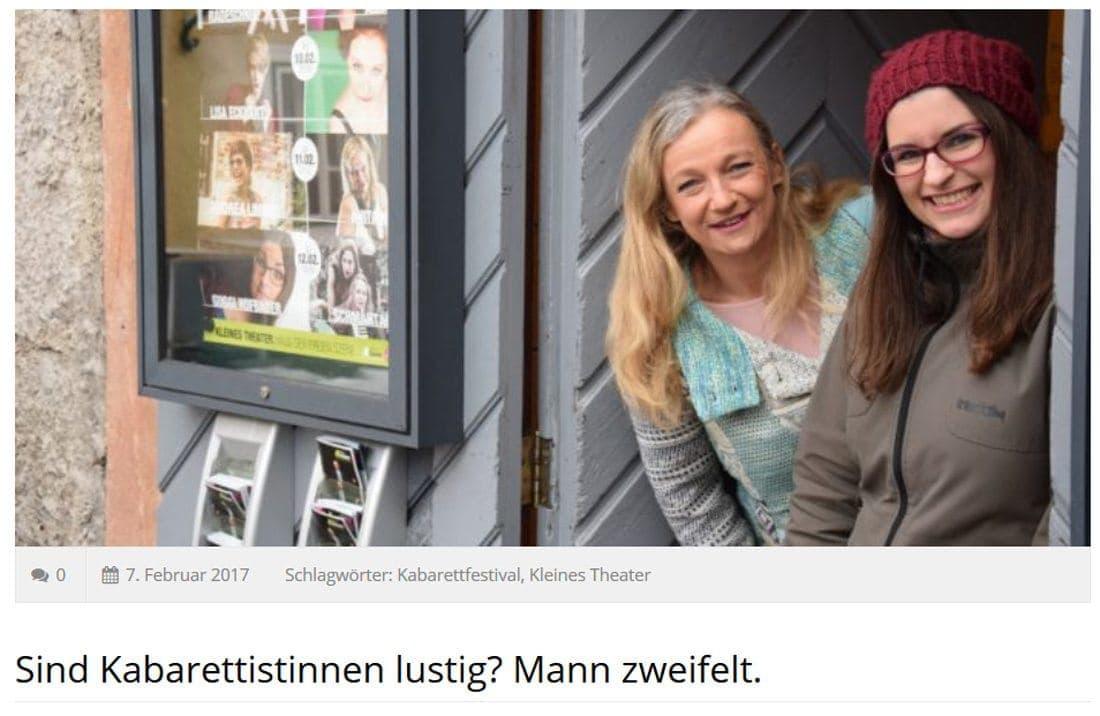 2017 02 07 SF diekabarett01 - Sind Kabarettistinnen lustig? Mann zweifelt. - Salzburger Fenster vom 07.02.2017