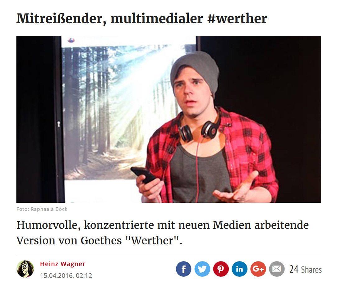 2017 03 03 kurier werther 01 - Mitreißender, multimedialer #werther - Kurier vom 03.03.2017