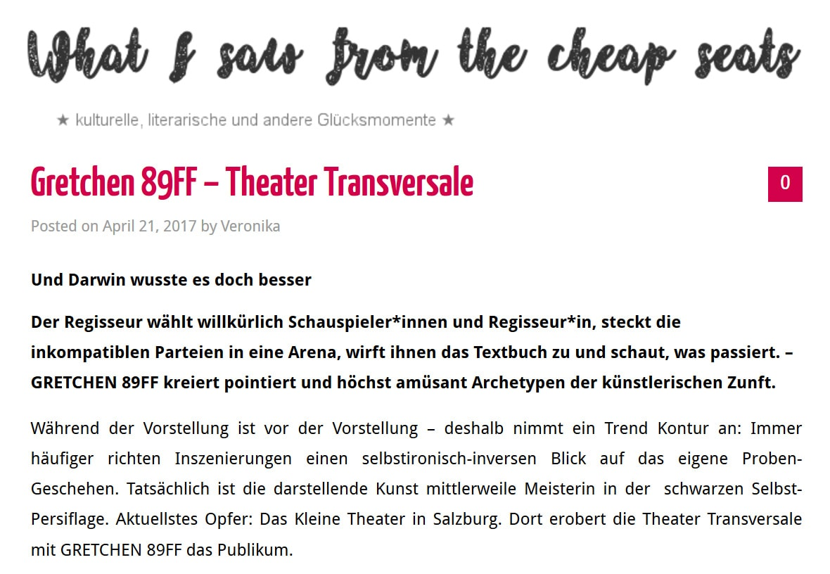 2017 04 21 cheapseats gretchen01 - Gretchen 89FF – Theater Transversale - What i saw from the cheap seats vom 21.04.2017