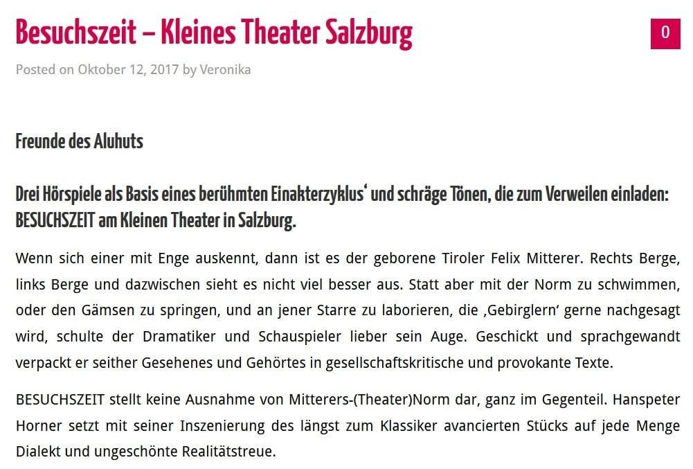 2017 10 12 wisftcs besuchszeit01 - Besuchszeit - What I saw from the cheap seats vom 12.10.2017