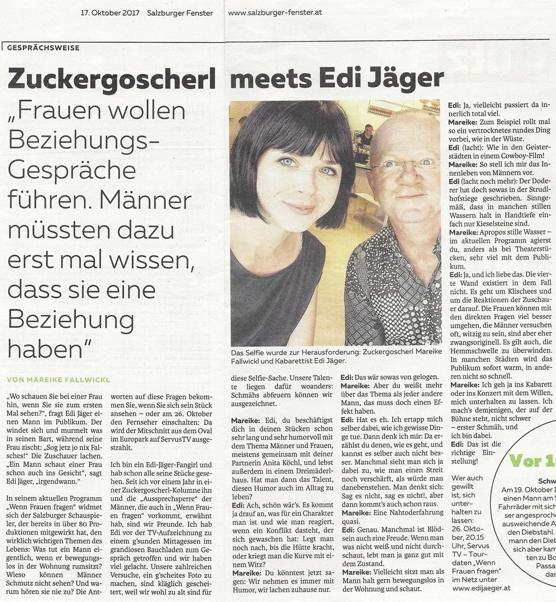 2017 10 17 SF Interview EdiJaeger - Zuckergoscherl meets Edi Jäger - Salzburger Fenster vom 17.10.2017