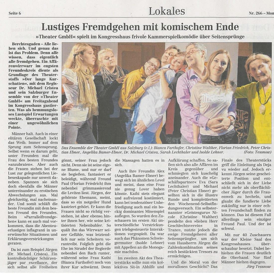 Kurschatten Premiere 20.11 - Lustiges Fremdgehen mit komischem Ende - Berchtesgadener Anzeiger vom 20.11.2017