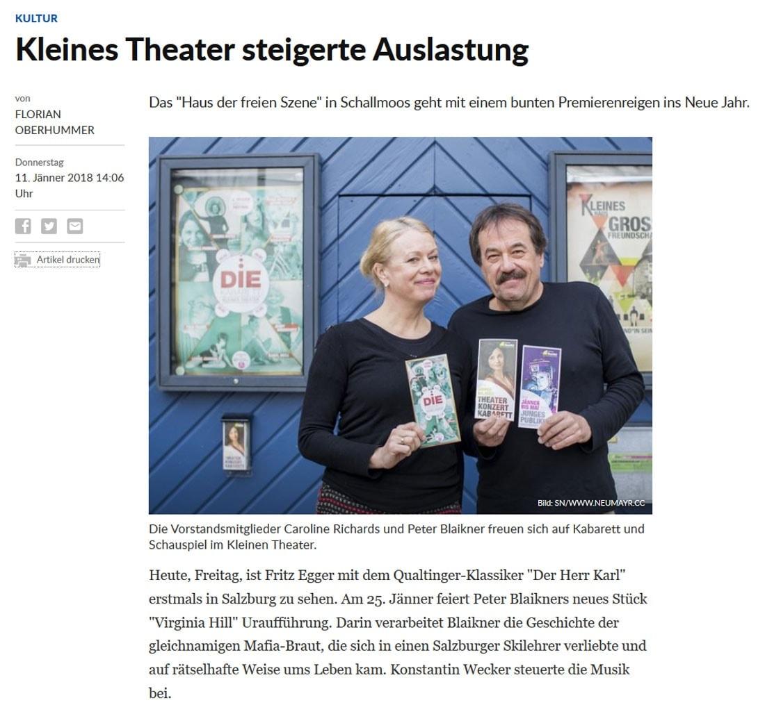 20180111 Kleines Theater steigerte Auslastung   SN 01 - Kleines Theater steigerte Auslastung - SN vom 11.01.2018