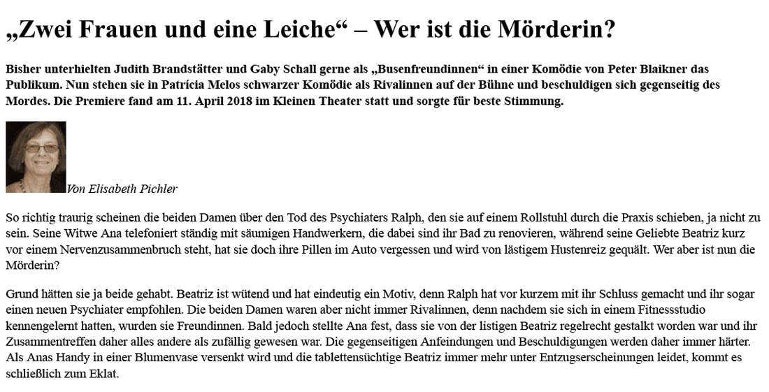 2018 04 19 Zwei Frauen Dorfzeitung 01 - Zwei Frauen und eine Leiche - Dorfzeitung vom 18.04.2018