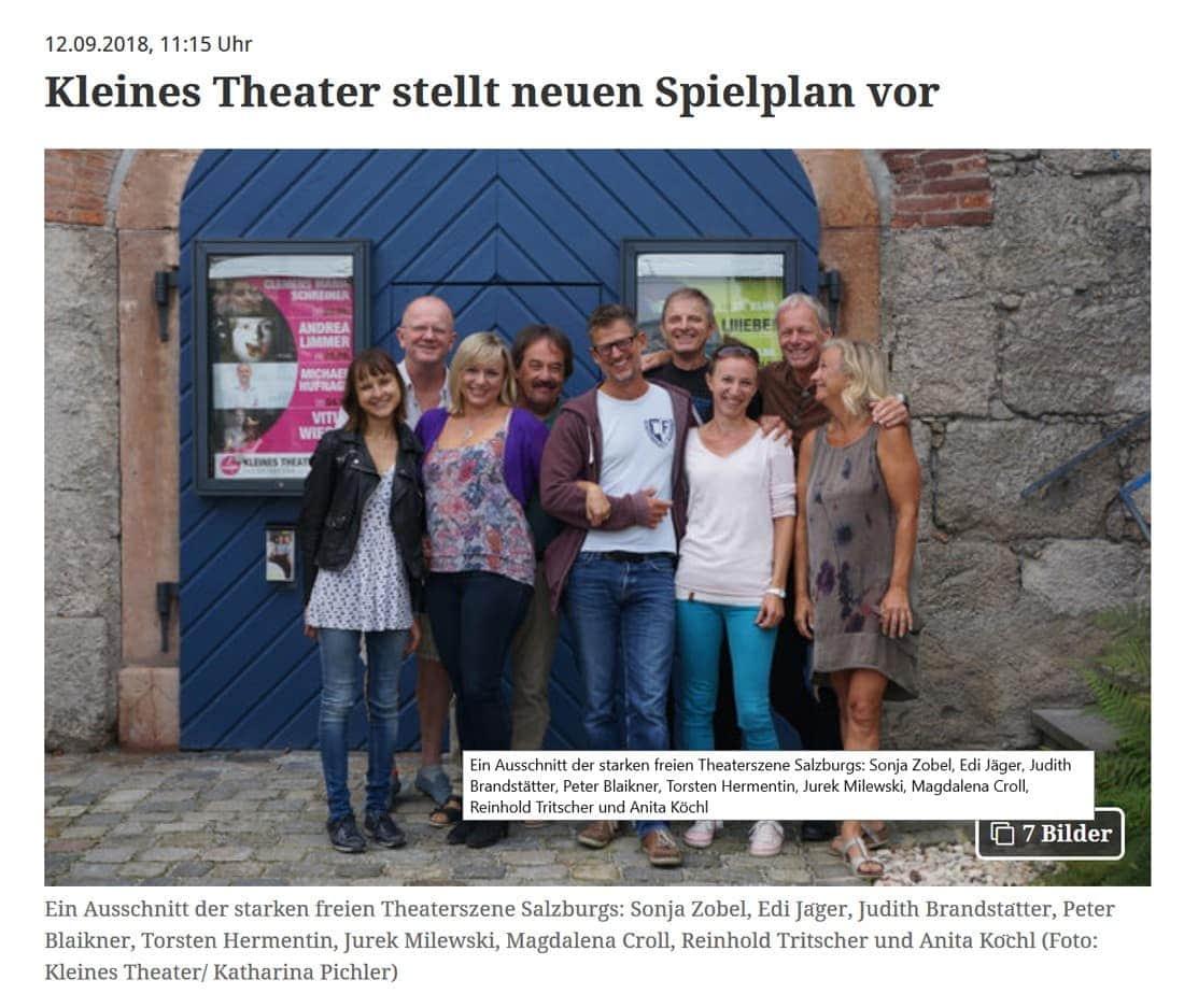 2018 09 12 BB - Kleines Theater stellt neuen Spielplan vor - Bezirksblätter vom 12.09.2018