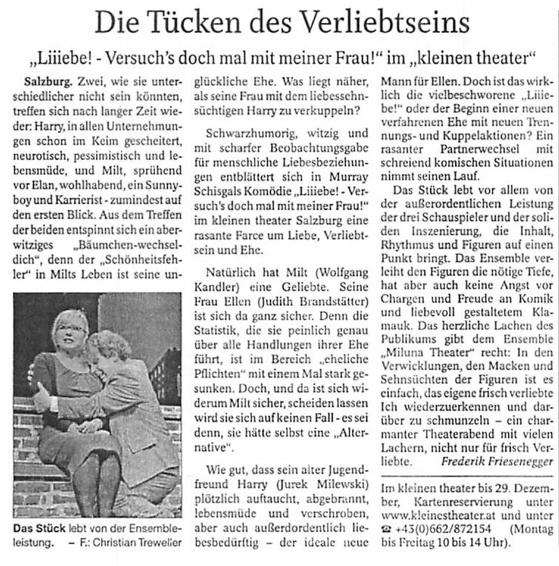 20181016 KRI reichenhallertagblatt Liiiebe - Die Tücken des Verliebtseins - Reichenhaller Tagblatt vom 16.10.2018