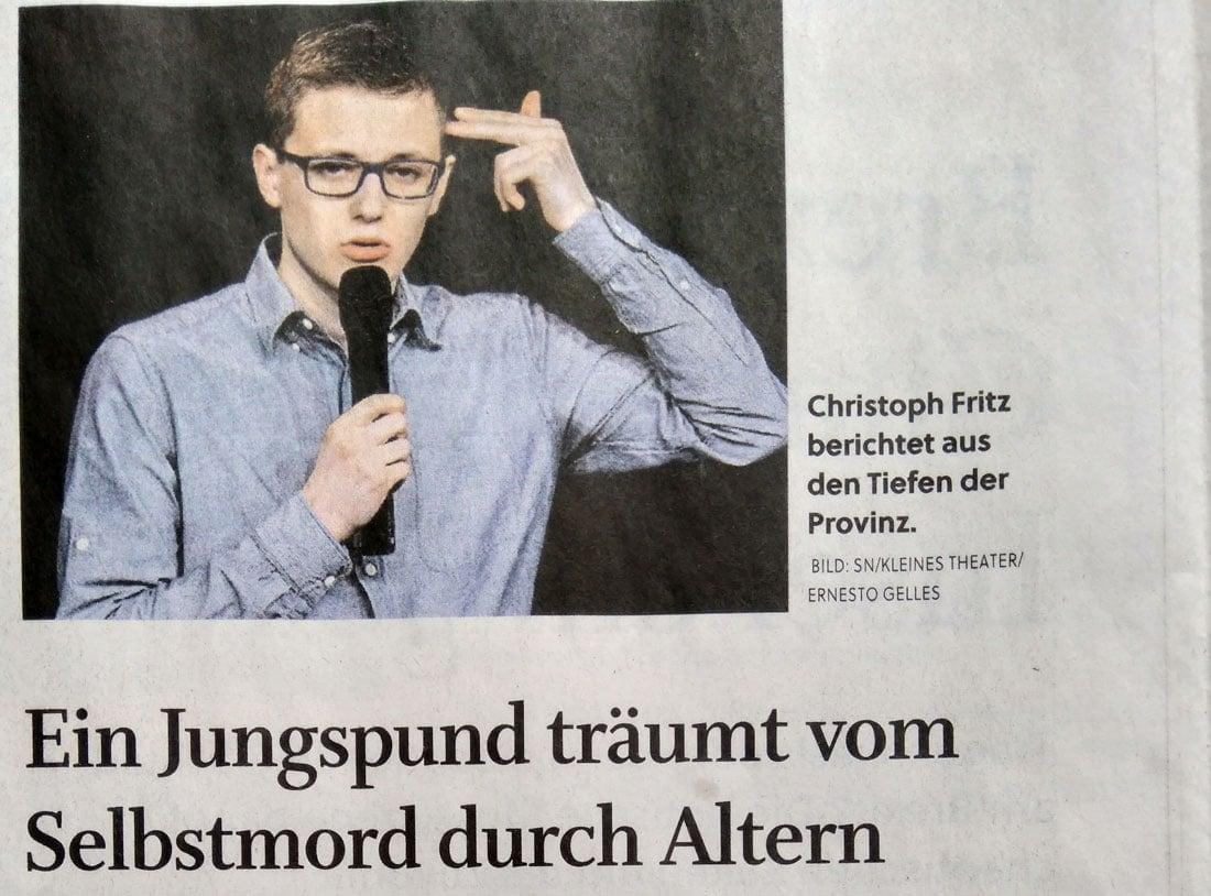19 01 19 SN Christoph Fritz 01 1 - Ein Jungspund träumt vom Selbstmord durch Altern - SN vom 19.01.2019