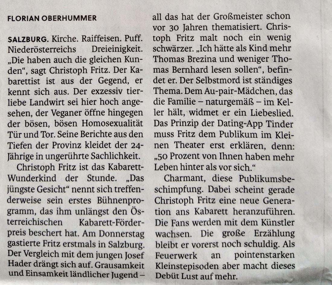 19 01 19 SN Christoph Fritz 02 1 - Ein Jungspund träumt vom Selbstmord durch Altern - SN vom 19.01.2019