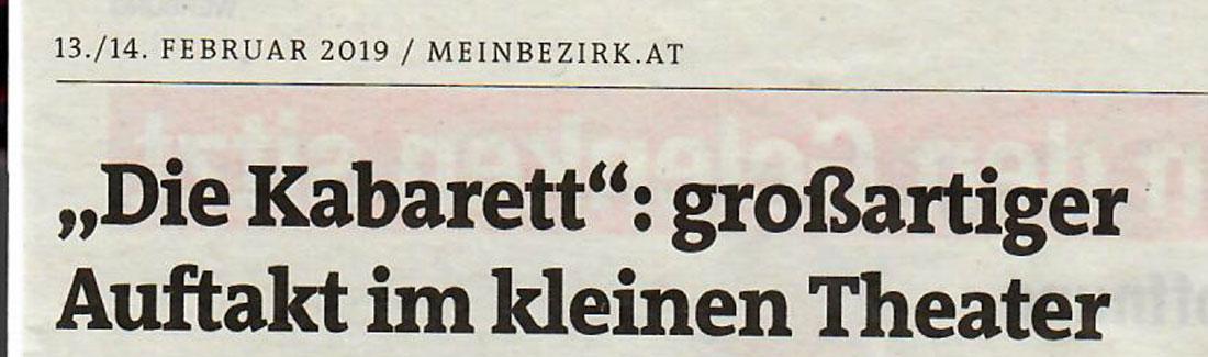 """diekabarett stadtnachrichten 01 - """"Die Kabarett"""": großartiger Auftakt im kleinen theater - Stadtnachrichten vom 13.02.2019"""