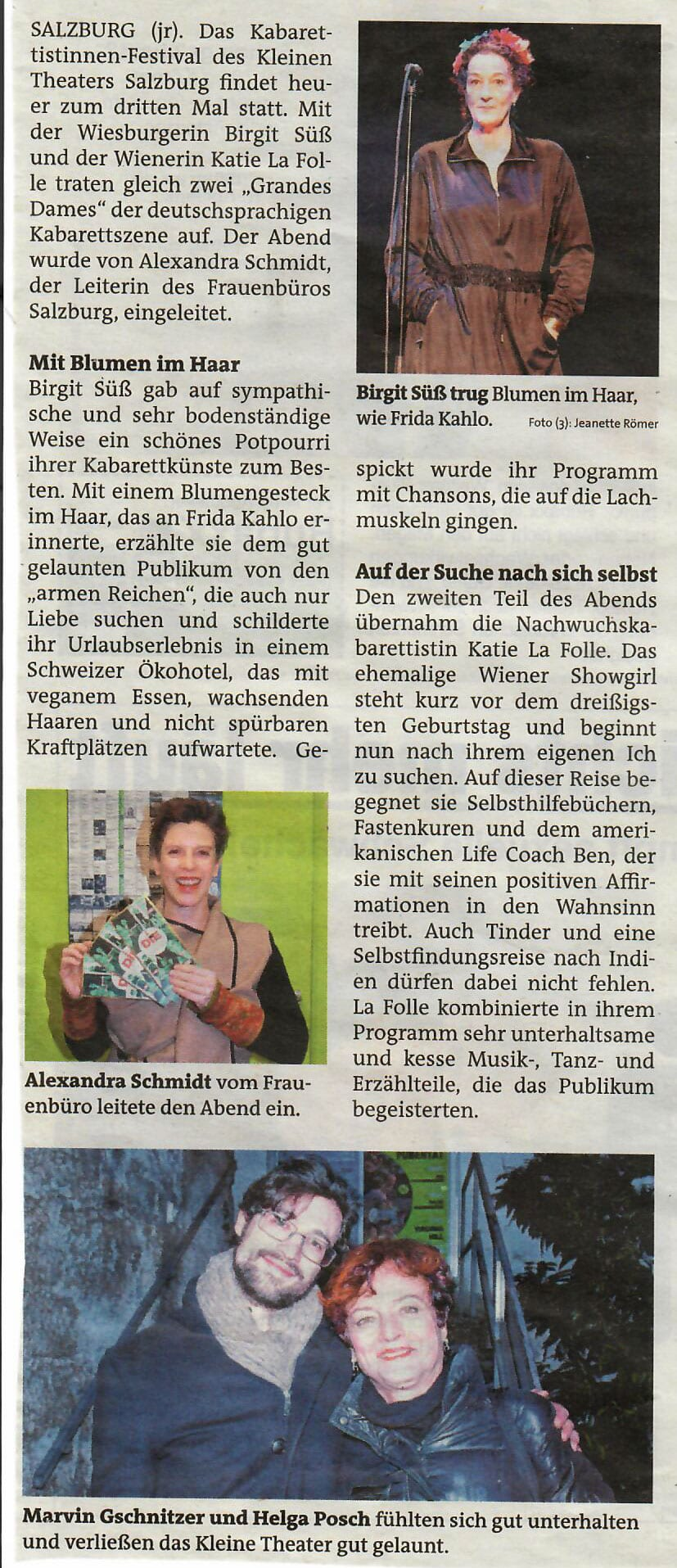 """diekabarett stadtnachrichten 02 - """"Die Kabarett"""": großartiger Auftakt im kleinen theater - Stadtnachrichten vom 13.02.2019"""