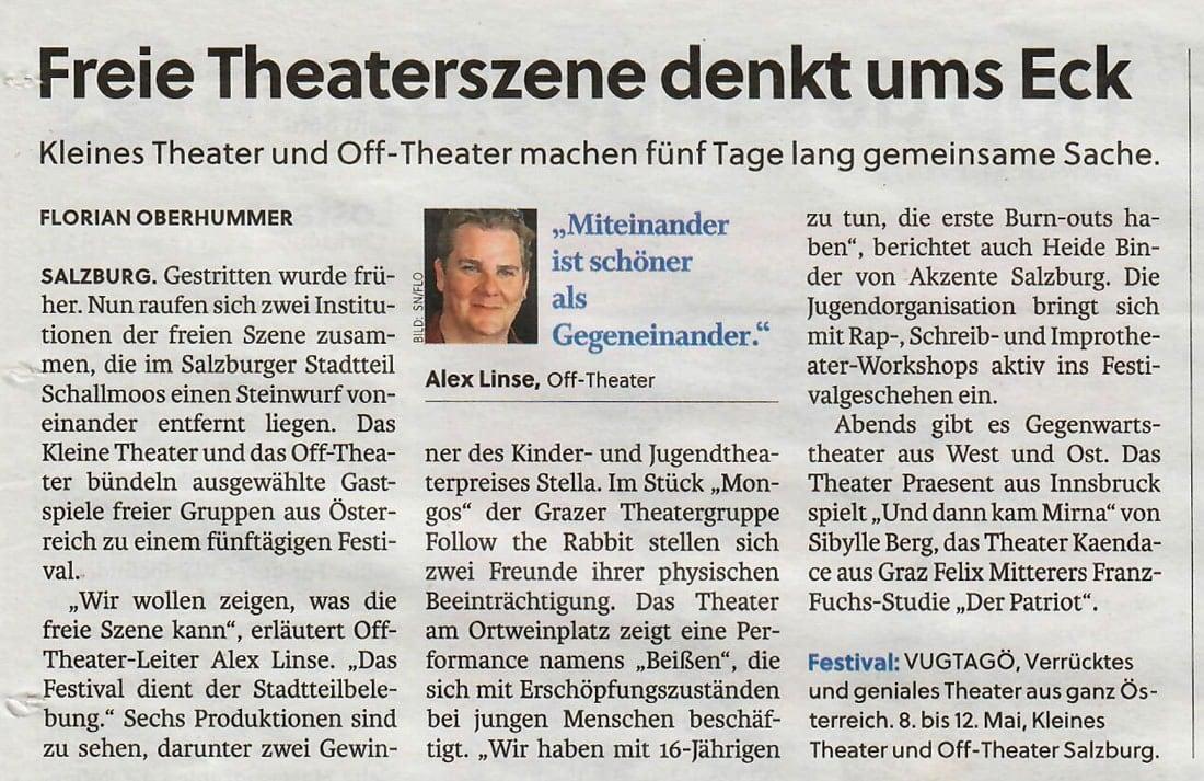 20190402 BER SN vugtagoe - Freie Theaterszene denkt ums Eck - SN vom 02.04.2019