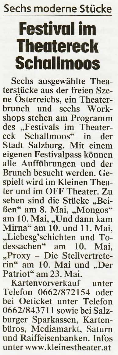 20190421 BER Krone Theaterfestivalvugtagoe - Festival im Theatereck Schallmoos - Kronenzeitung vom 21.04.2019