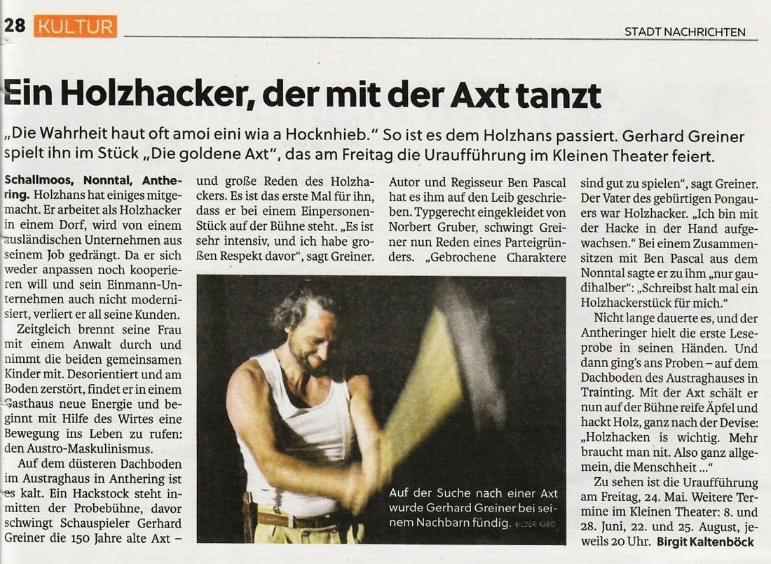 20190523 BER SN Stadtnachrichten DiegoldeneAxt - Ein Holzhacker, der mit der Axt tanzt - Stadt Nachrichten vom 23.05.2019