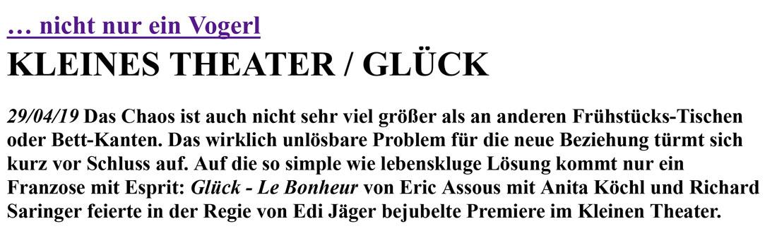 2019 04 19 DPK Glueck 01 - … nicht nur ein Vogerl - DrehPunktKultur vom 29.04.2019