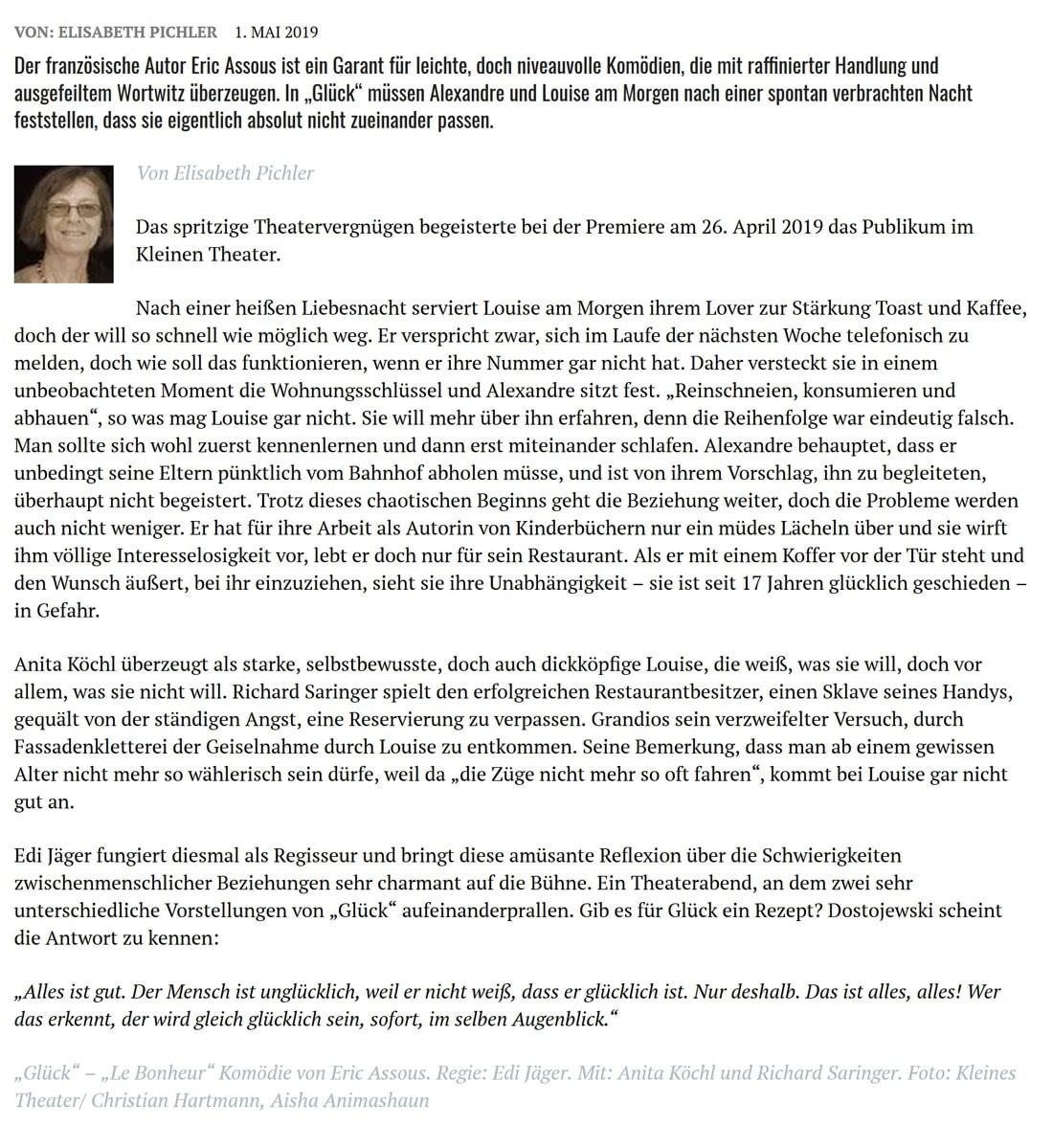2019 05 01 DZ Glueck02 - Glück. Ein höchst amüsantes Beziehungsgeplänkel - Dorfzeitung vom 01.05.2019