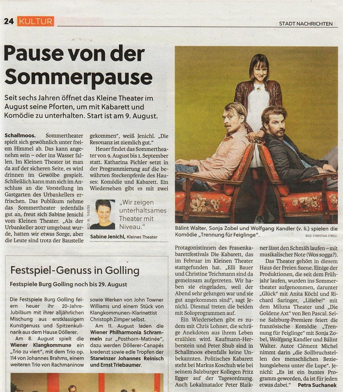 20190808 BER Sommertheater StadtNachrichten1 - Pause von der Sommerpause - Stadt Nachrichten vom 08.08.2019