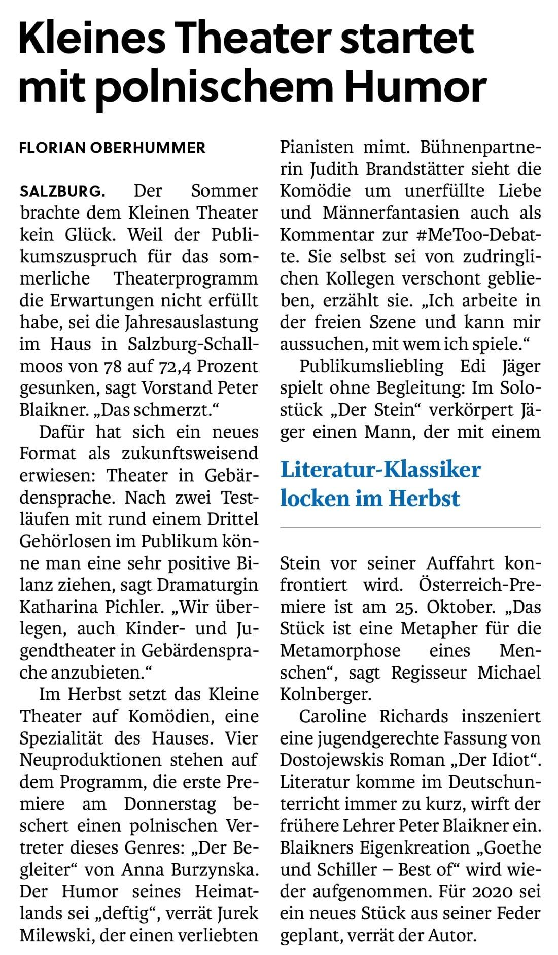 20190918 BER SN Saisonstart Pressekonferenz 02 - Kleines Theater startet mit polnischem Humor - SN vom 18.09.19