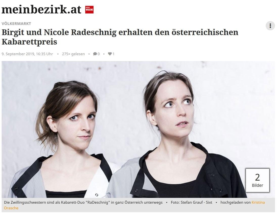 19 09 09 meinbezirk radeschnig 01 - Birgit und Nicole Radeschnig erhalten den österreichischen Kabarettpreis - meinbezirk vom 09.09.2019