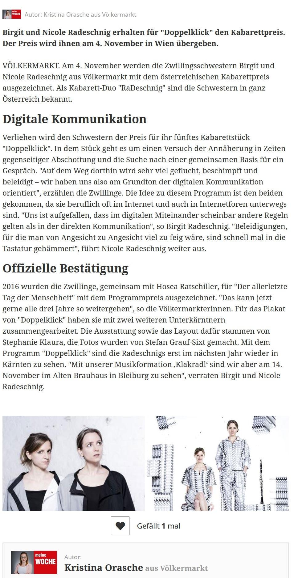 """19 09 09 meinbezirk radeschnig 02 - JUHU! Am 4. November erhalten Birgit und Nicole Radeschnig den Österreichischen Kabarettpreis für ihr aktuelles Programm: """"Doppelklick""""."""