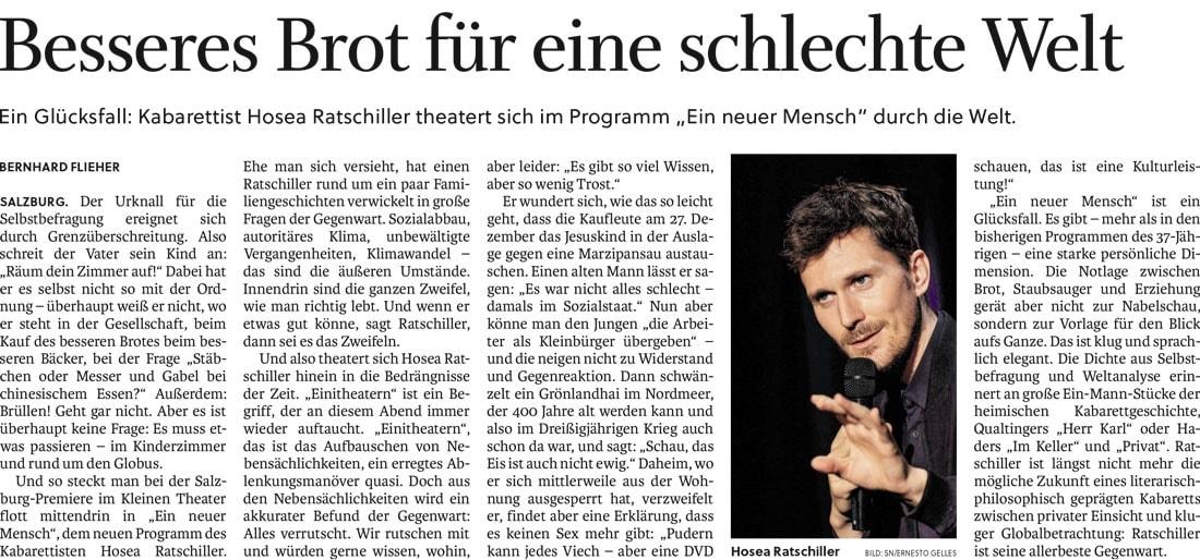 Salzburger Nachrichten Ratschiller Neuer Mensch71019 - Besseres Brot für eine schlechte Welt - SN vom 07.10.2019