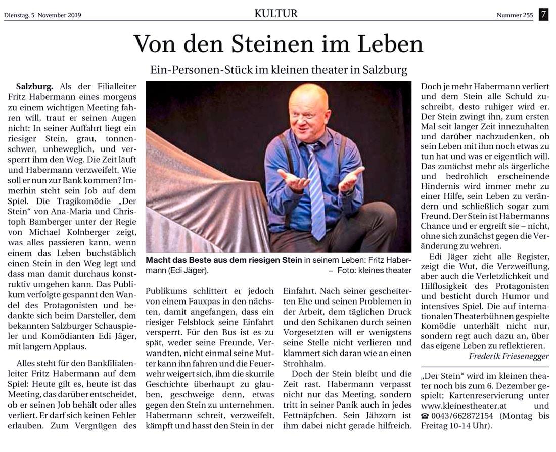 20190511 KRI DerStein ReichenhallerTagblatt - Von den Steinen im Leben - Reichenhaller Tagblatt vom 05.11.2019