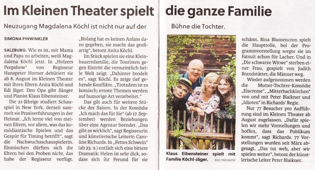 2020 07 31 SN PK - Im kleinen theater spielt die ganze Familie - SN vom 31.07.2020